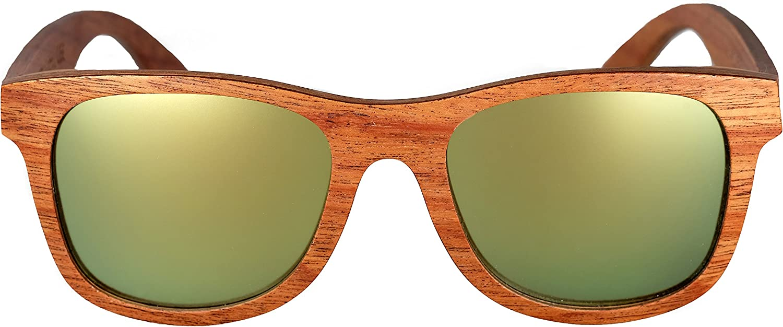 Amoloma pear wood sunglasses with matt mirrored lenses frozen wayfarer style