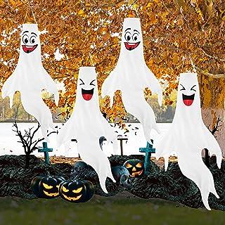 KSPOWWIN 4PCS 43 Inch Halloween Ghost Windsocks,Flag Wind Socks Ghost Hanging Flags Halloween Ghost Wind Decors Outdoor De...
