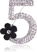 Fashion Jewelry Rhinestone Number Five Pin Brooch with Camellia Flower Charm