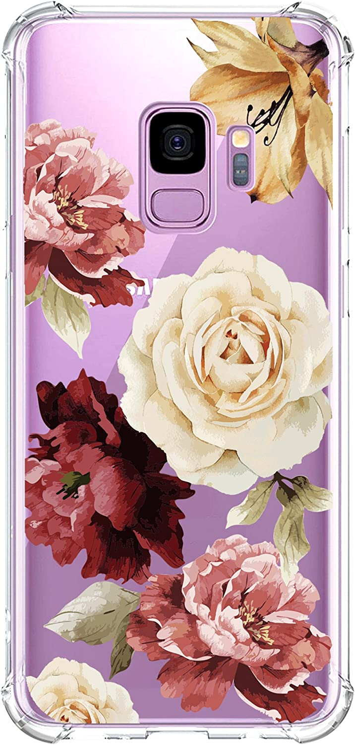 KIOMY Galaxy S9 Case for Girls Clear with Red Flower Pattern Design Shockproof Protective Cute Floral Back Cover for Samsung Galaxy S9 5.8 Inch Women Flexible Slim Fit Soft Cell Phone Cases