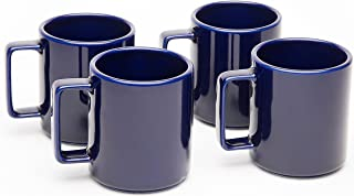 American Mug Pottery Ceramic Square Handle Coffee Mug, Made in USA, Cobalt Blue, 17 oz - Pack of 4