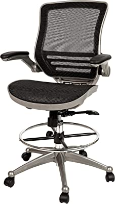 Flash Furniture Mid-Back Transparent Black Mesh Drafting Chair with Graphite Silver Frame and Flip-Up Arms