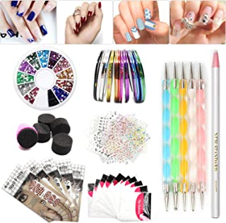 Nail Art Set, Tape Line Nail Stickers, Colored Rhinestones Decoration, 45 Sheets Nail Art Stickers, Gradient Nails Sponges for Color Fade Manicure, Dotting Marbleizing Pen for Pedicure