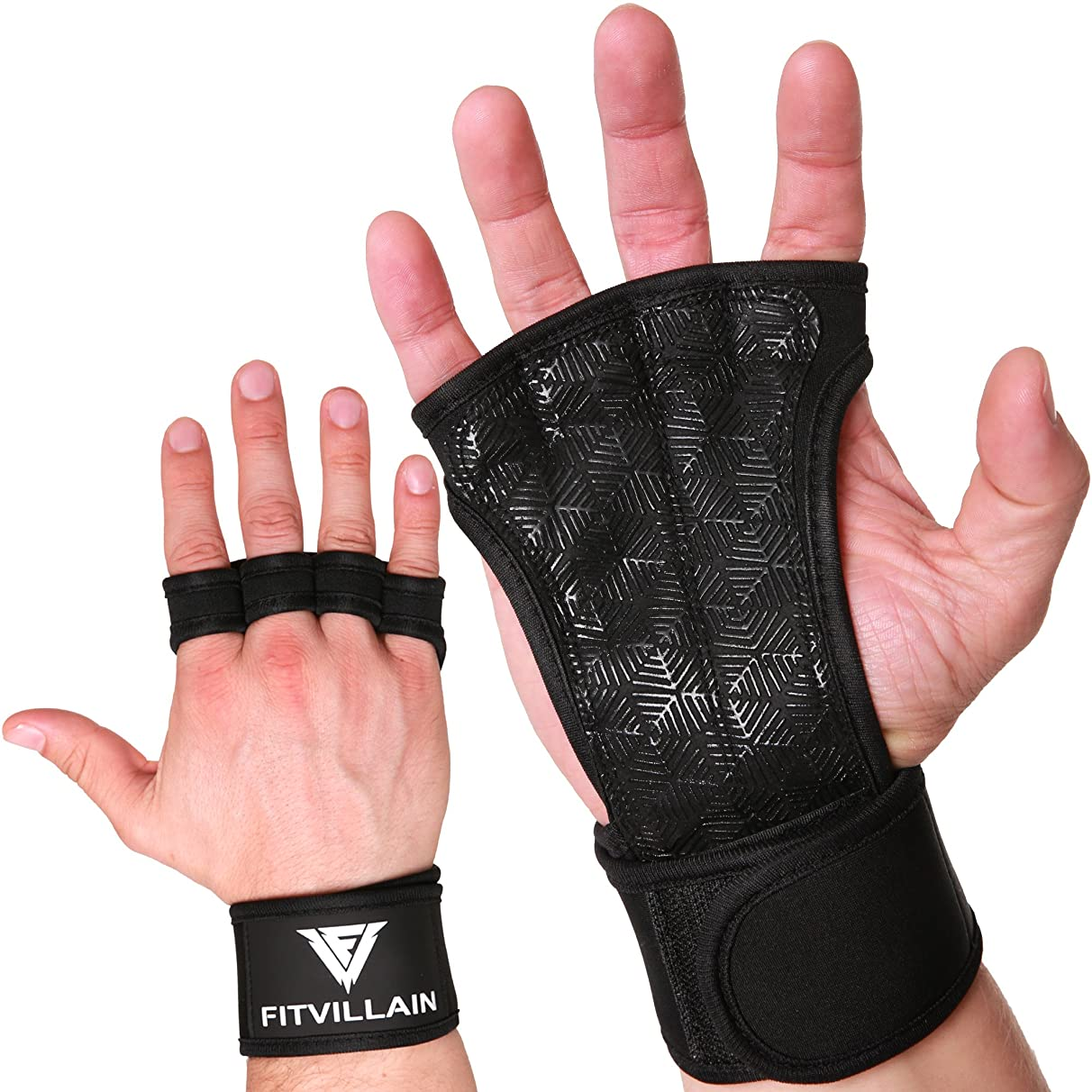 Crossfit Gloves with Built-In Wrist Wraps - Pull Up Gloves - Non-Slip Eco+ Neoprene Padding for Extra Grip - Protection - Comfort - Ideal for Cross Training - WODs - Weight Lifting - Suits Men & Women