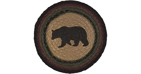 VHC Brands Rustic /& Lodge Tabletop /& Kitchen Red Wyatt Tan Bear Jute Trivet