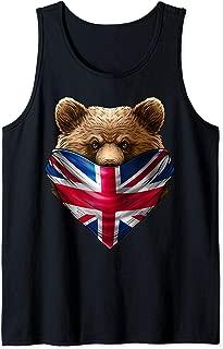 England UK Flag California Bear Wearing British Flag Bandana Tank Top
