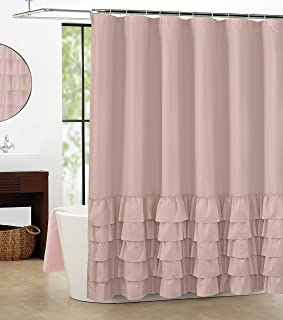 WestWeir Tiered Bohemian Lace Shower Curtain SetsKate Pretty Ruffle For Feminine Girl Teens