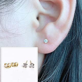 Tiny 3mm 14k Gold Filled Cz Stud Earrings for Women