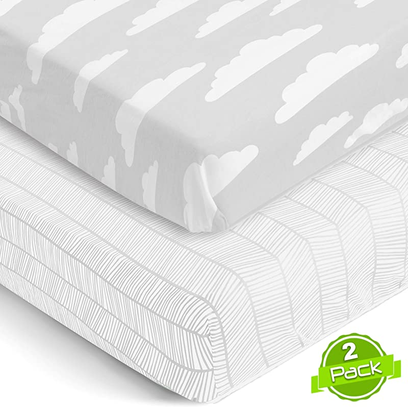 Crib Sheets Set For Boys Girls Super Soft 100 Jersey Knit Cotton 150 GSM Extremely Soft 2 Pack