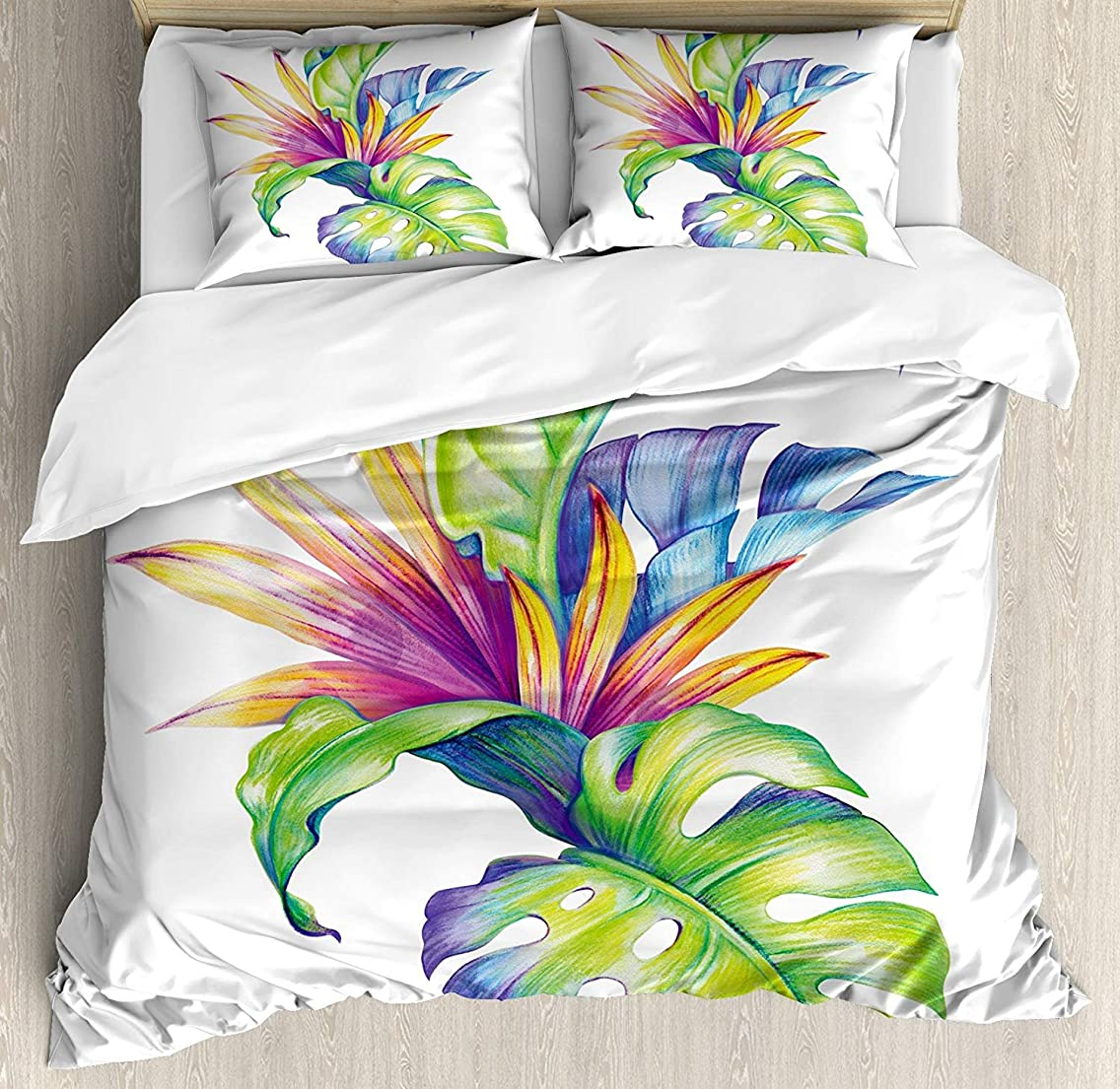 VCFUN Family Comfort Bed Sheet Plant Tropical Leaves Monstera with Abstract Color Scheme Hawaiian Floral Elements, 4 Piece Bedding Sets Duvet Cover Oversized Bedspread, Queen Size