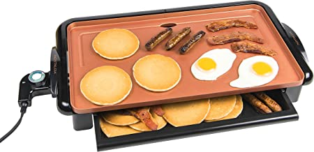 Nostalgia GD20C New and Improved Non-Stick Copper Griddle with Warming Drawer, Pancakes, Sausage, Eggs, Bacon, Omelettes