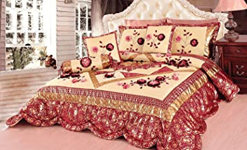 Tache Home Fashion Rose Garden Floral Patchwork Comforter Bedding Set, Twin, Red/Gold