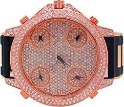 Techno Pave Mens Fully ICY Large 5 Time-Zone Rose Gold Plated and Black Bullet Band Watch