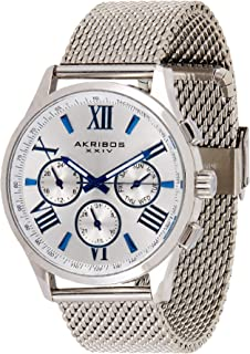 Akribos Xxiv Men's Ak844Ss Round Radiant Sunburst Dial Two Time Zone Quartz Staniless Steel Bracelet Watch