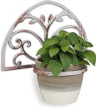 Relaxdays, Witte bloemenhouder muur, gietijzer, antieke shabby look, halfronde wandbloempothouder, decoratief, Ø 14,5 cm