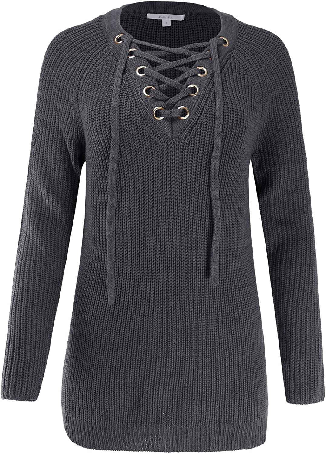 Ladies' Code Women's Raglan Long Sleeve Lace Up Knitted Sweater
