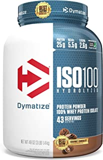 Best Dymatize ISO100 Hydrolyzed Protein Powder, 100% Whey Isolate Protein, 25g of Protein, 5.5g BCAAs, Gluten Free, Fast Absorbing, Easy Digesting, Gourmet Chocolate, 3 Pound Review