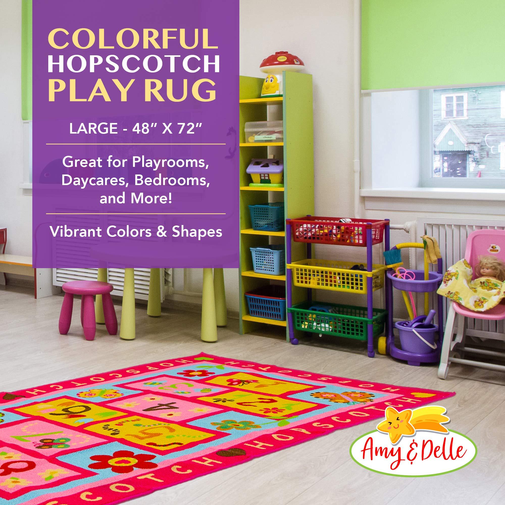 Hopscotch Rug Play Space /& Room Decor Floor Rug Carpet Nursery Classroom Sturdy Gift For Girls /& Boys Kid/'s Floor Play Mat for Bedroom