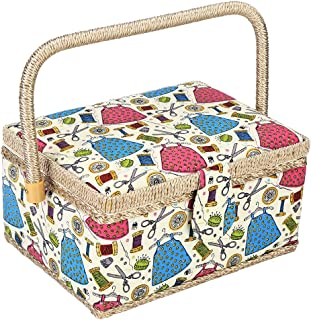 Cestino da cucito stampato a fiori cestino da cucito fatto a mano artigianale in tessuto Organizzatore per aghi Scatola di immagazzinaggio domestica stampata a fiori per kit di cucito di stoccaggio