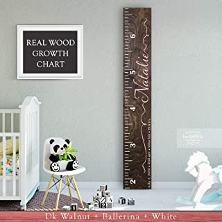 Wooden Kids Growth Height Chart Ruler for Boys and Girls Painted (The Natalie) by Back40Life - Express Edition
