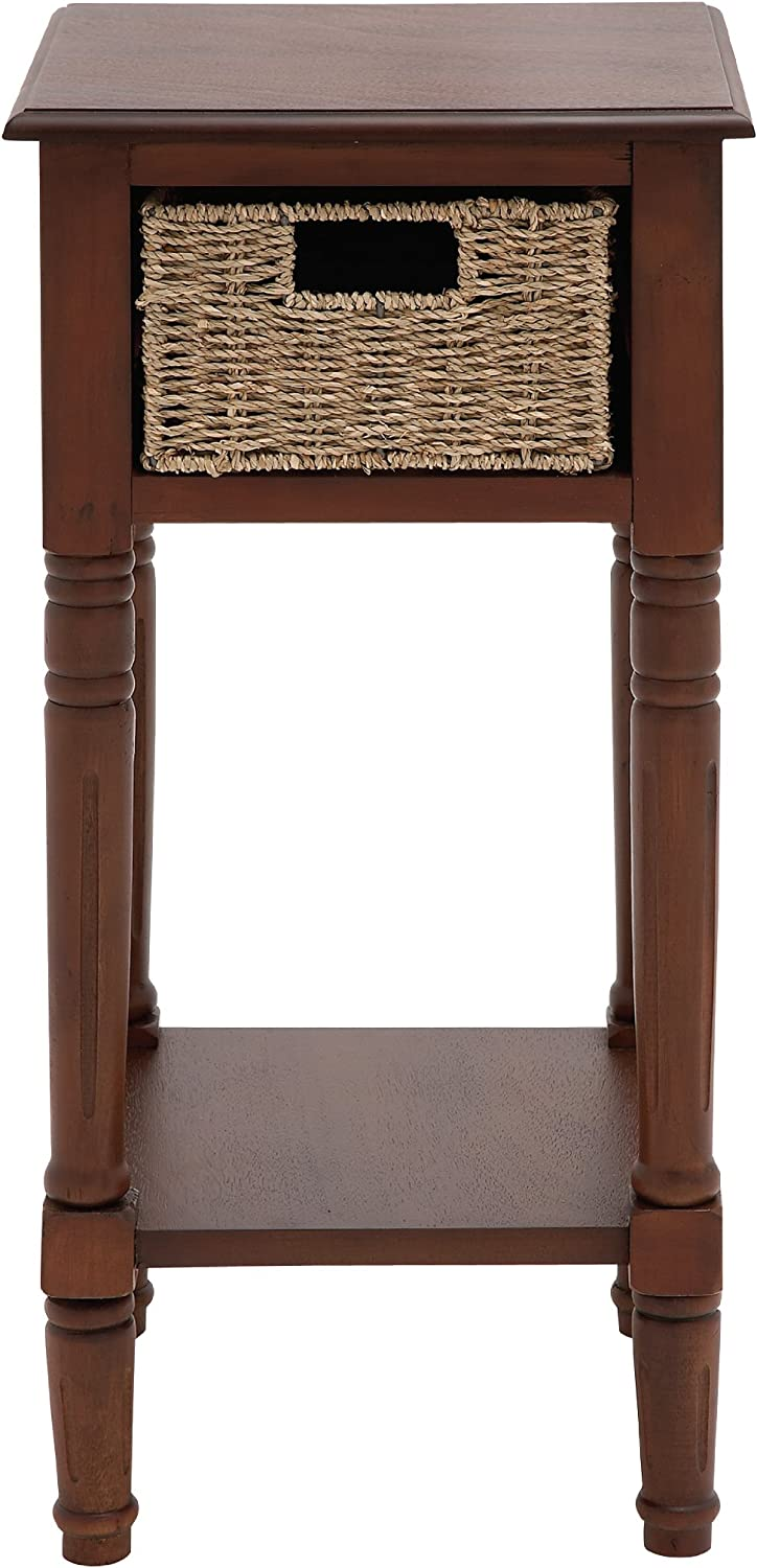Benzara The Tanned Wood Basket Accent Table, 15.04 by 15.04 by 15.04-Inch, Brown