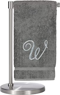Monogrammed Bath Towel, Personalized Gift, 27 x 54 inches - Set of 2 - Silver Script Embroidered Towel - 100% Turkish Cotton- Soft Terry Finish - for Bathroom or Spa - Script W Gray