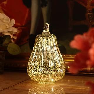 Romingo Mercury Glass Pumpkin Light with Timer for Halloween Pumpkin Decorations Fall Decor,Silver, 8.7 inches