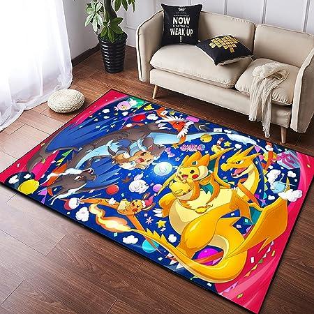 ZZXC Tapis Anime Dessin Animé Chambre Salon Chambre d'enfants Pokemon Pikachu Nordique Court Velours Chambre Décoration Rectangulaire Tapis De Sol