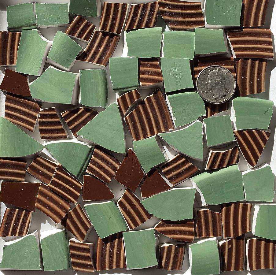Mosaic Art & Craft Supply ~ Green & Rich Brown Textured Tiles (B282)
