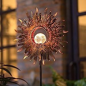 Twinkya Garden Solar Lights Outdoor Decorations Waterproof Decorative Solar Powered Landscape Stakes Lights Metal Sun Crackle Glass Globe for Patio Pathway Walkway Yard Lawn Backyard Decor (Copper)