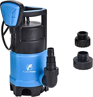 FLUENTPOWER 3/4 HP Sump Pump with Max Flow 3300 GPH for Dirty/Clean Submersible Water Pump, Voidable Float Switch Function, Included 3/4