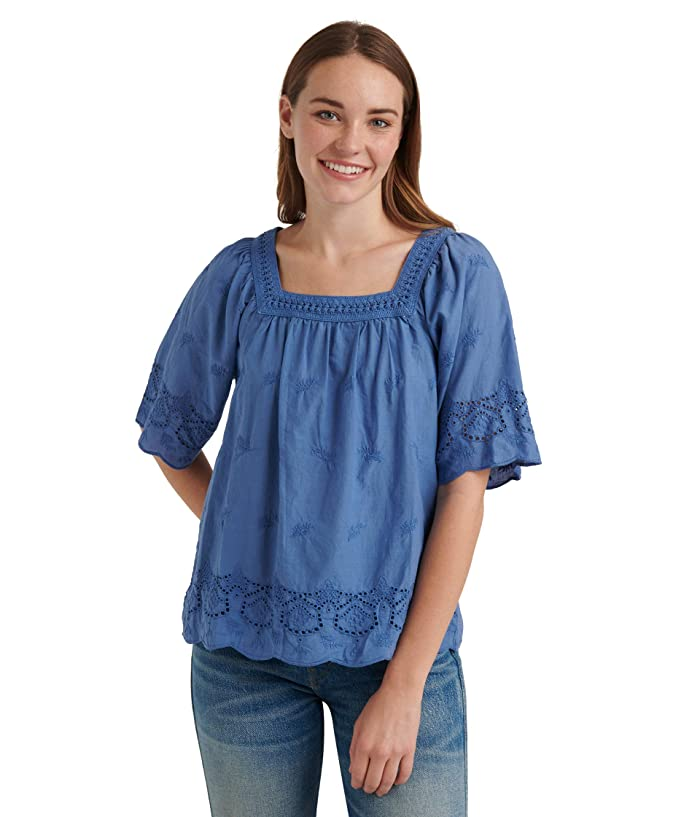 Lucky Brand  Short Sleeve Square Neck Lace Mix Peasant Top (Sodalite Blue) Womens Clothing