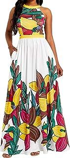VERWIN Sleeveless Floral Print Floor-Length Women's Maxi Dress Party Dress Cocktail Dress