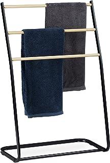 Relaxdays Handdoekhouder staand, metaal, 3 sporten in houtlook, voor handdoeken & kleding, HxBxD 86x58x30 cm, zwart, 1 stuk