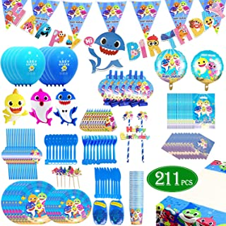 Shark Party Supplies Pool theme Set 211Pcs – Flasoo Sharks Ocean Themed Birthday Parties Decorations Includes Disposable Tableware Kit - Serves 16 Guest