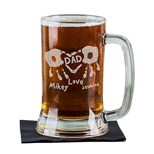 16 Oz Hand Prints Love Dad Etched Glass Beer Mug Stein Father Day Engraved With Kids
