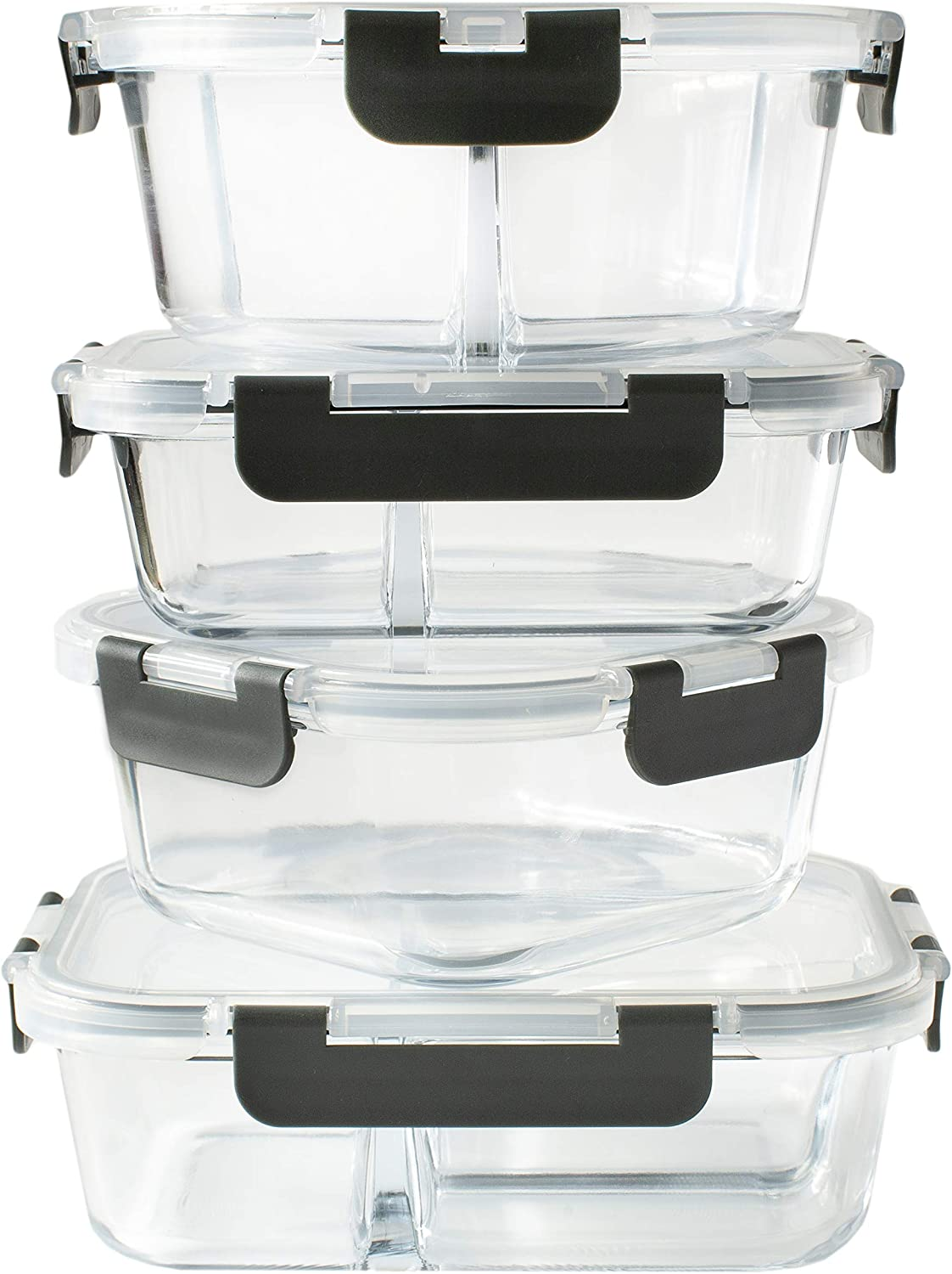 Orii 4 Piece Glass Food Storage Compartment Containers with Lids, Multiple, Charcoal Grey