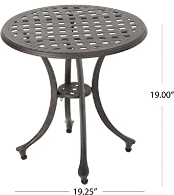 """Christopher Knight Home Lola Outdoor 19"""" Cast Aluminum Side Table, Bronze Finished"""