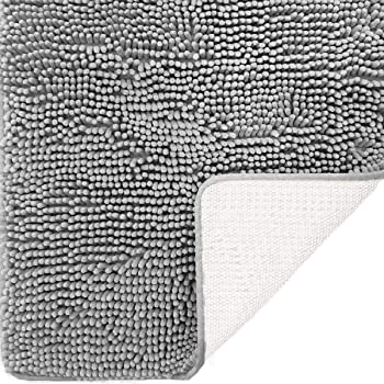 DEARTOWN Non-Slip Shaggy Bathroom Rug,Soft Microfibers Chenille Bath Mat with Water Absorbent, Machine Washable(Silver Grey,20x32 Inches)
