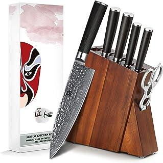 XINZUO 7 Pièces Ensemble de Couteaux de Cuisine,Bloc en Bois Acacia de Qualité Supérieure avec,Ciseaux de Cuisine Multifon...