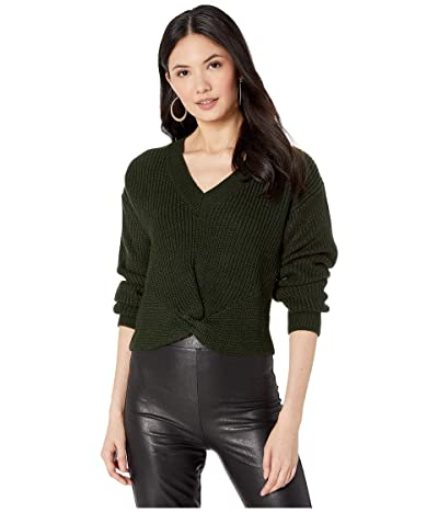 WAYF Varsity Knot Front Sweater (Hunter) Women