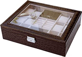 Focuseparts FOCUS EPARTS174; 12 Slot 10 Rings Brown Crocodile Leather Jewelry Box for Watch Ring Glass Top Display