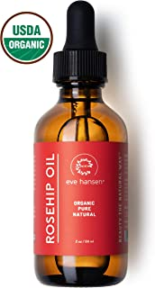 Eve Hansen USDA Certified Organic Rosehip Oil | Pure Cold-Pressed Facial Oil Natural Moisturizer for Face, Body, Hair, Nails for Fine Lines, Wrinkles, Acne Scars, Dark Spots, Skin Redness (2 oz)