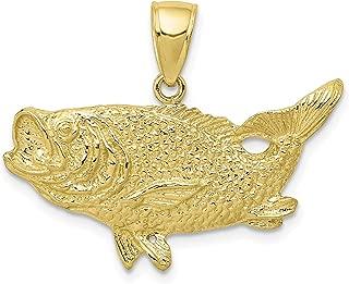 10k Yellow Gold Open Mouth Bass Fish Pendant