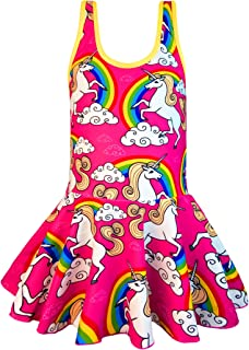 KuKiee Girls One Piece Rainbow Unicorn Swimsuit Stars Print Swimwear Bathing Suit