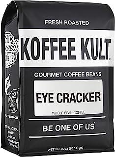 Koffee Kult Eye Cracker Espresso Beans - Bright, Bold Medium Roast with a Citrus Twist Coffee (32 Ounce)