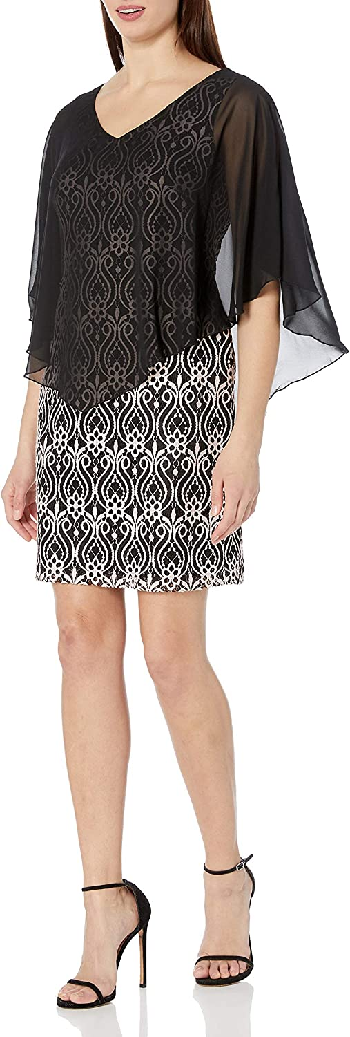 Connected Apparel Women's One Piece Lace Sheath Dress with Sheer Solid Chiffon Cape Overlay