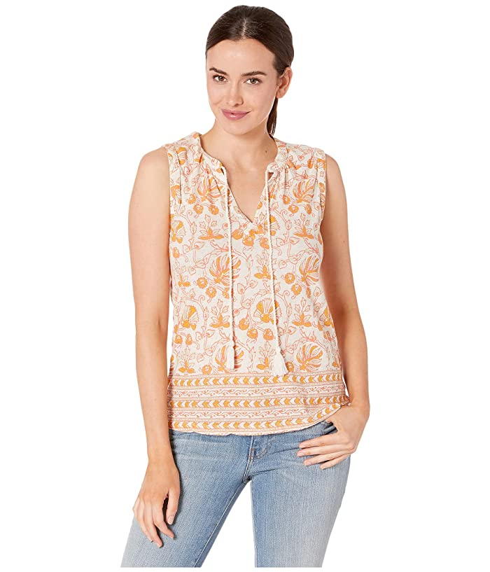 Lucky Brand  Woodblock Printed Tank (Natural Multi) Womens Clothing