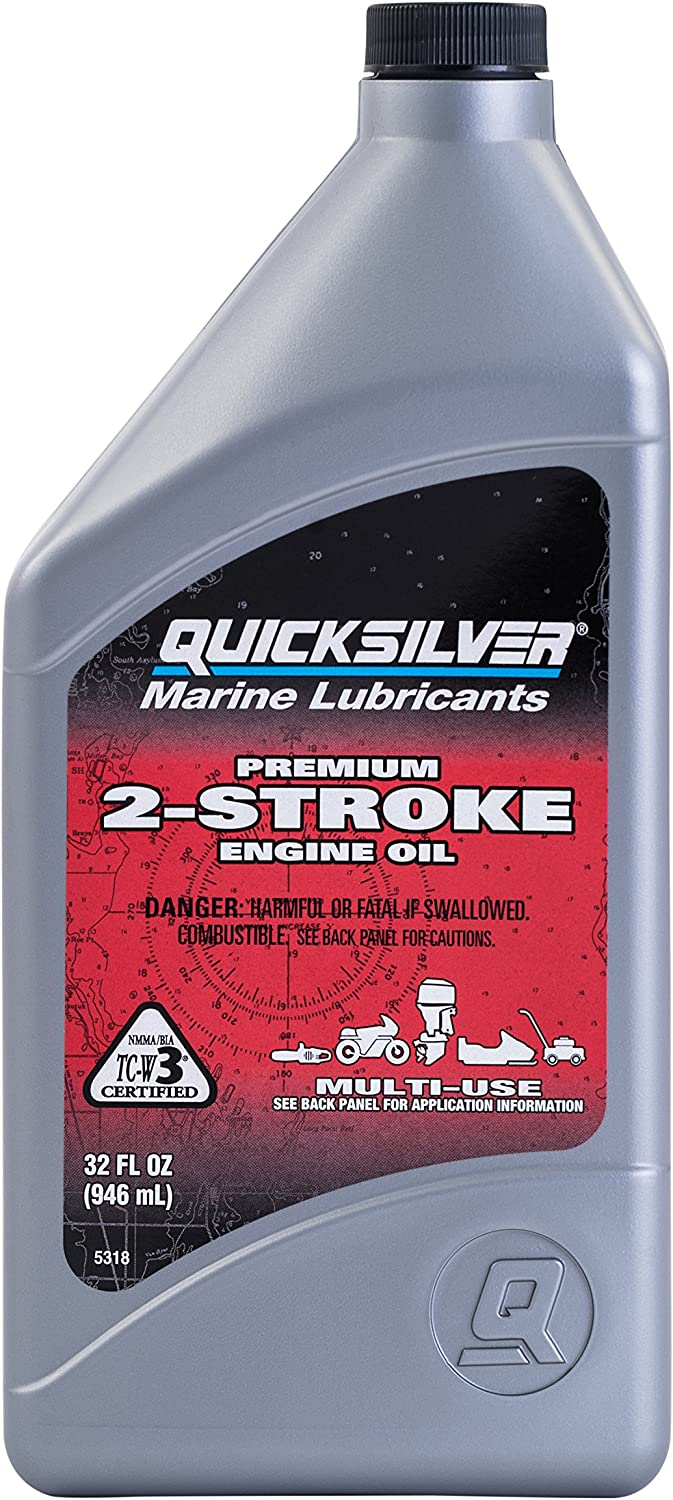 Quicksilver 858021Q01 Premium Two-Cycle TC-W3 Oil - Outboards Personal Water Craft (PWC's) Snowmobiles Motorcycles and Chainsaws 1 Quart Bottle