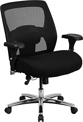 Flash Furniture HERCULES Series 24/7 Intensive Use Big & Tall 500 lb. Rated Black Mesh Executive Ergonomic Office Chair with Ratchet Back